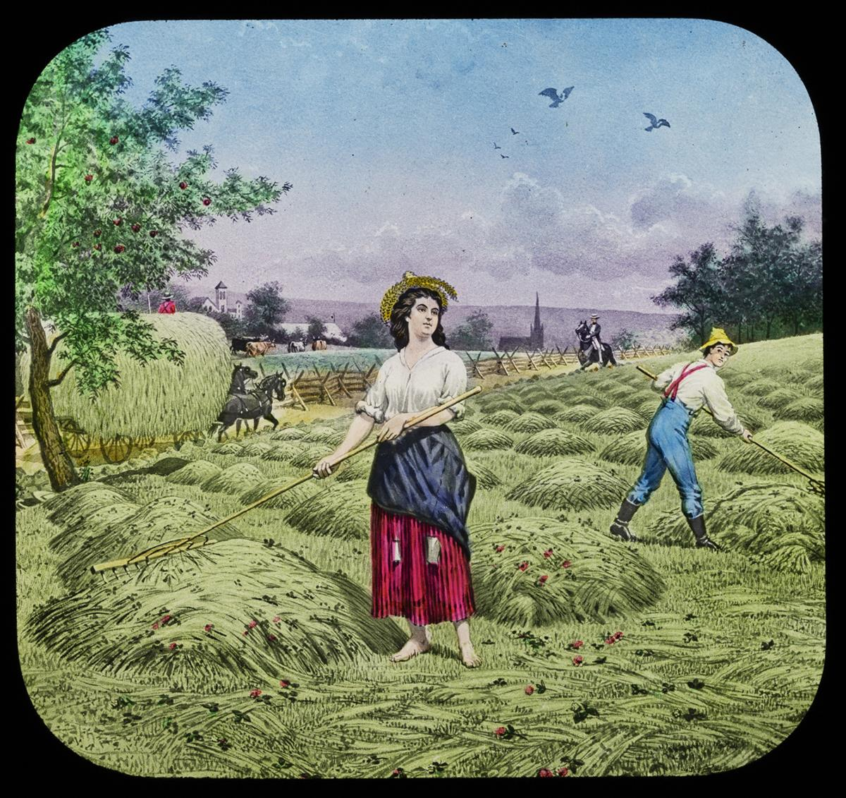 Colorful image of woman raking hay in a field, with other people, horses, and wagons nearby