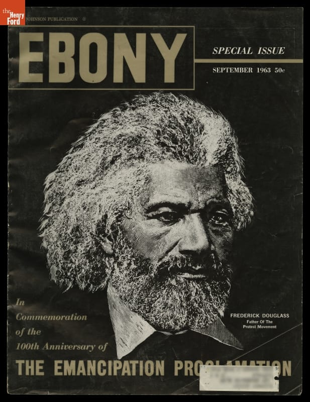 Ebony magazine cover with text and image of Black man with bushy hair, beard, and mustache