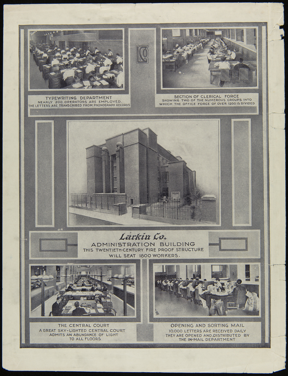 Images of office workers and building, along with text