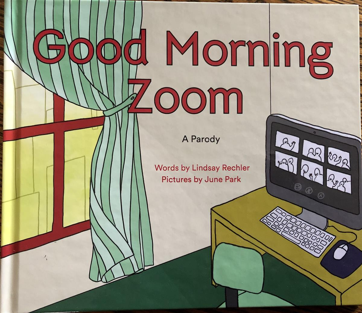 Book cover with image of room containing desk with computer screen with multiple boxes containing silhouettes; also contains text
