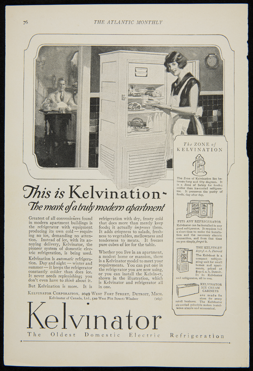 "Kelvinator ad, 1925, showing a woman in an apron at a refrigerator and text explaining ""kelvination"""