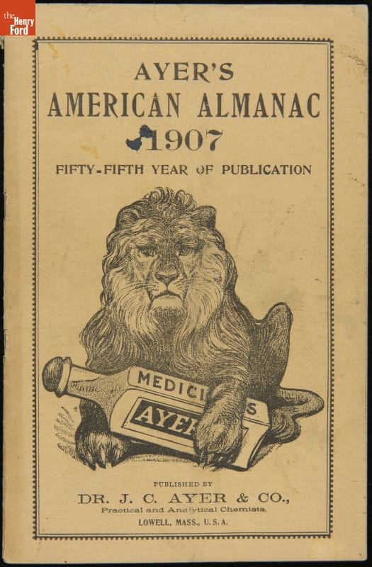 Beige page with etching of recumbent lion holding large bottle in its front paws; also contains text