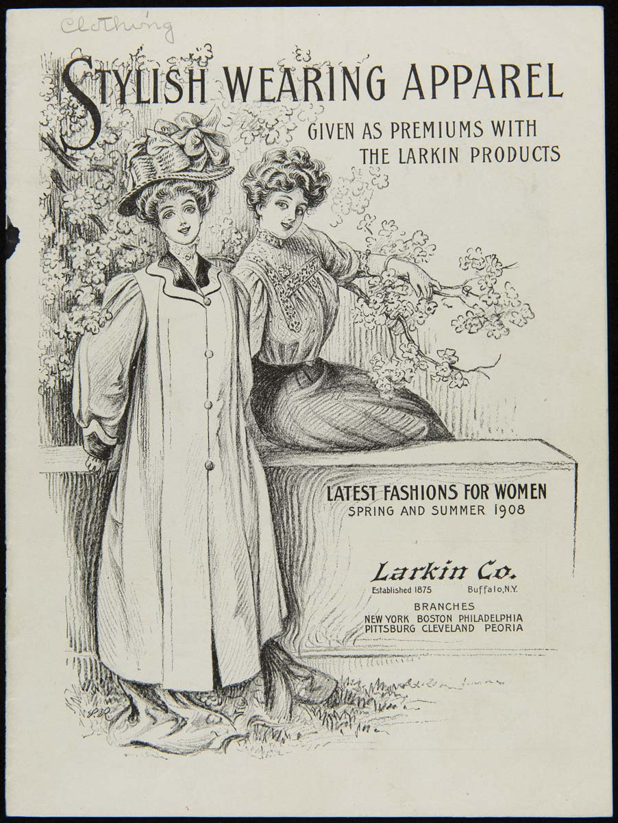 Drawing of two women wearing hats, one standing wearing a long coat and one seated in a blouse and skirt; also contains text