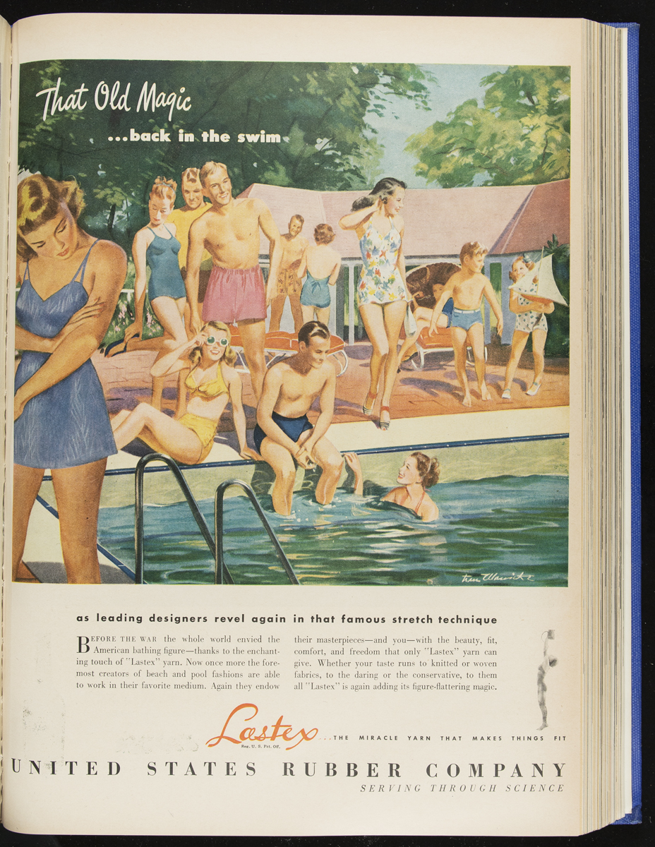 Advertisement with illustration of people in and by swimming pool; also contains text