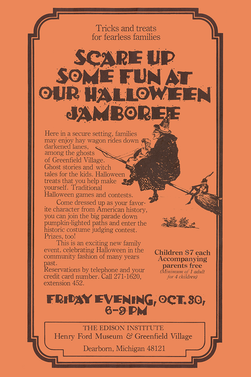 Orange flier with black text and image of witch on broomstick