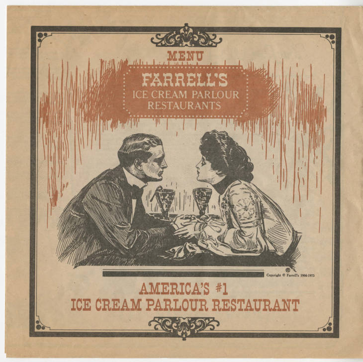 Sheet with image of Victorian man and woman holding hands at a table; also contains text