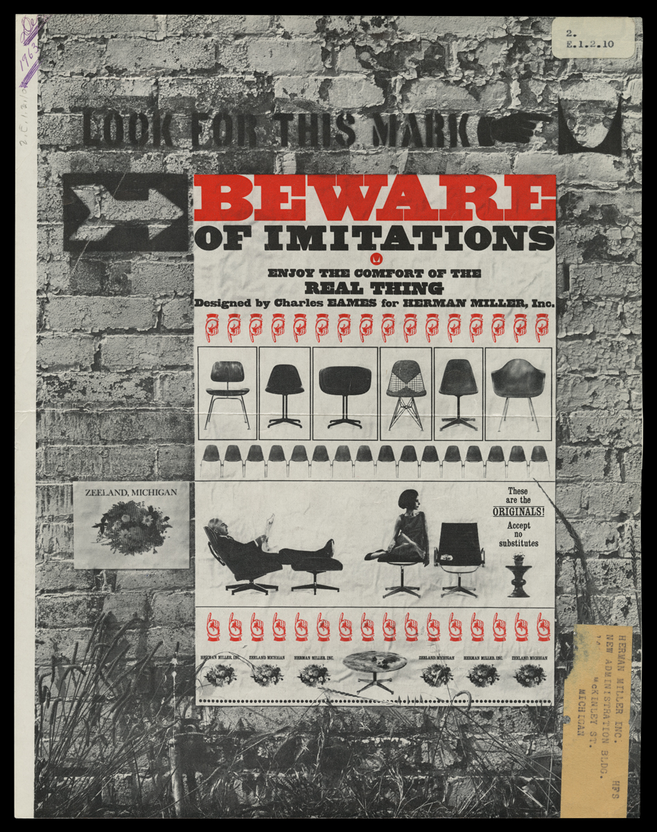 "Page with background of brick wall in black-and-white topped with ""poster"" of chairs in black and white and text and pointing hand icons in red"
