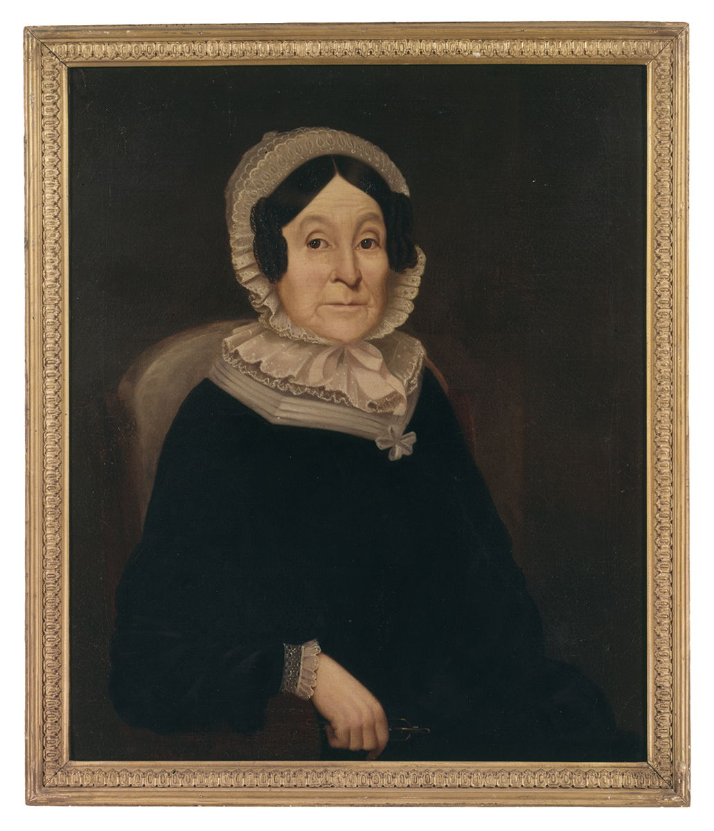 Painting of seated woman in dark dress with light collar and hat