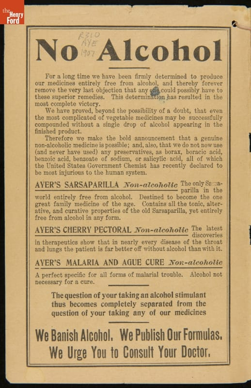 "Page with text and large header ""No Alcohol"""