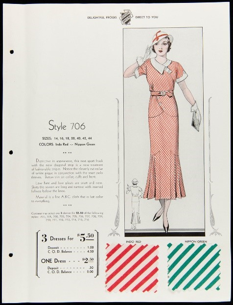Sheet with illustration of woman in hat and striped dress; text; two square swatches of striped fabric