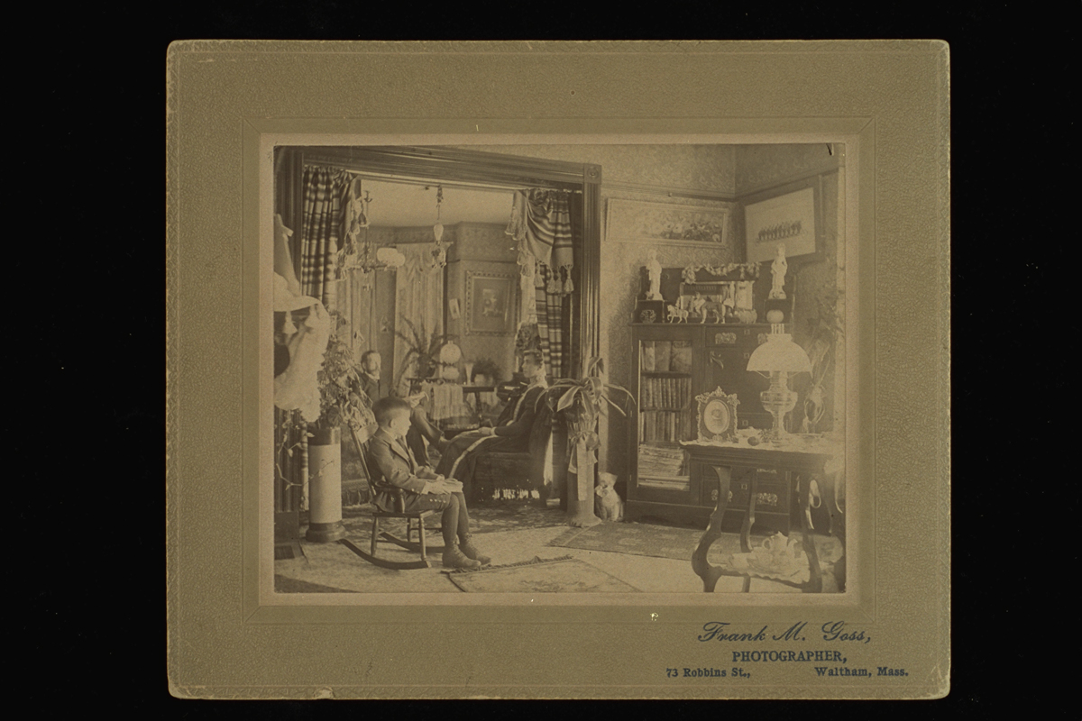 Boy, woman, and man sitting in an extensively furnished room