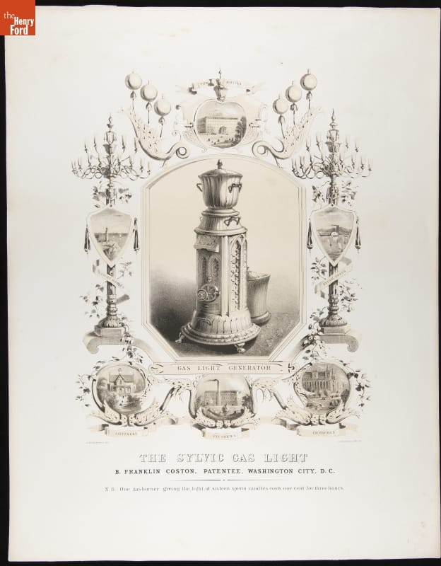 Illustration of elaborate pedestal topped with urn or jar, surrounded by  smaller illustrations and decorative elements