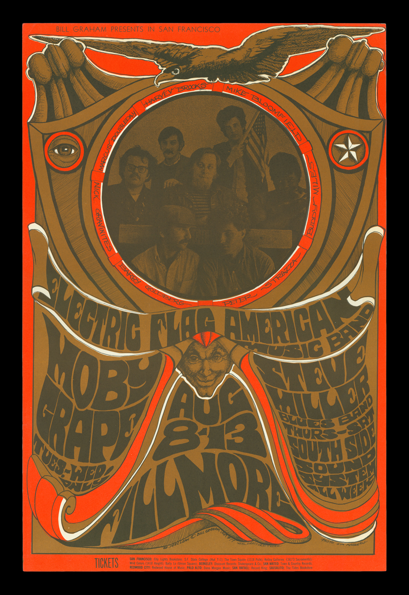 """Psychedelic"" style poster in shades of brown and red featuring text and image of band"