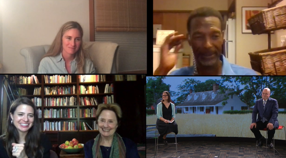 Screenshot with 1-2 video chat participants in each of four quadrants