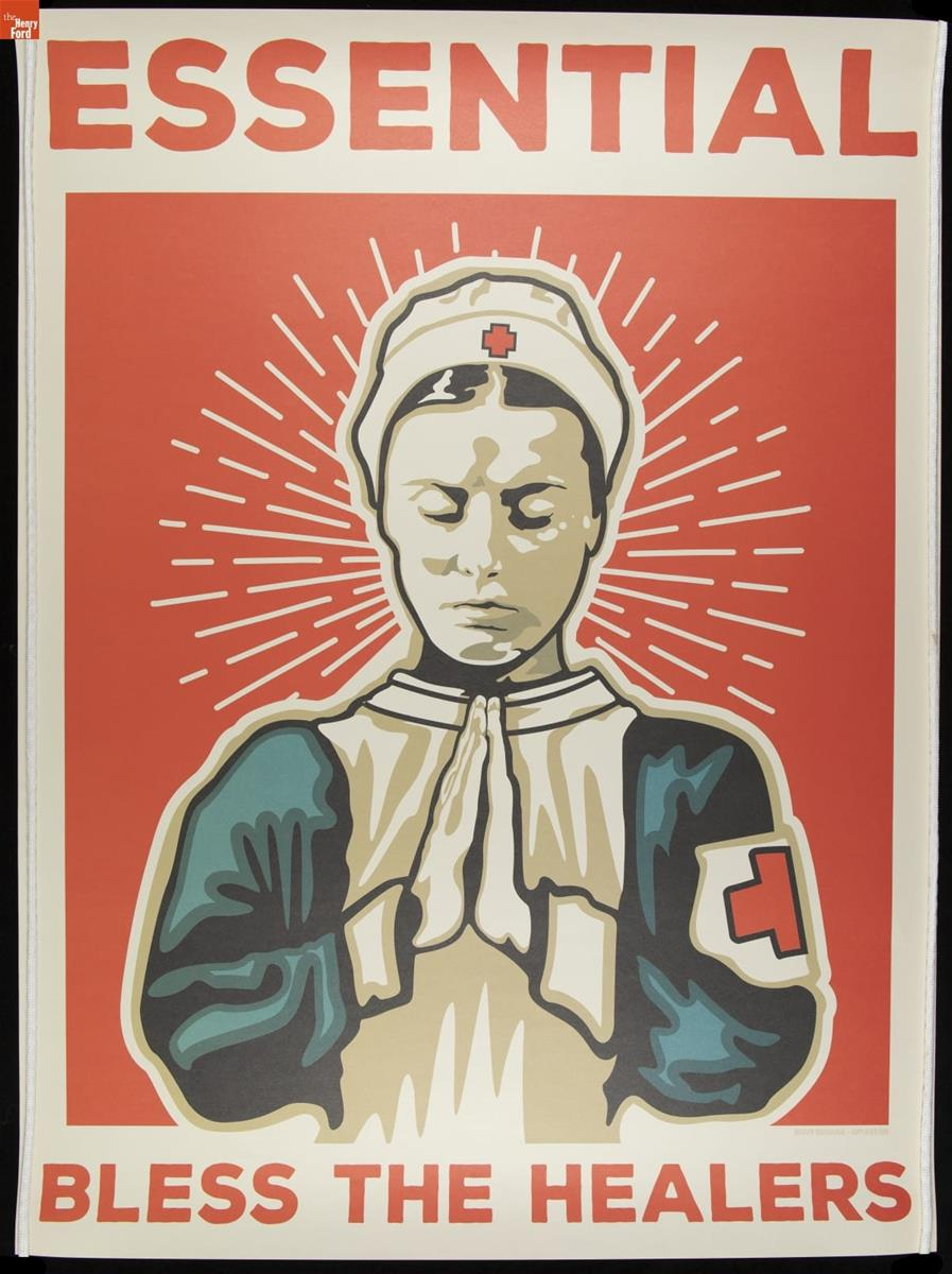 Nurse with hands clasped in a prayer position, head bowed, eyes closed, on a red background with white halo-like lines behind her; also contains text