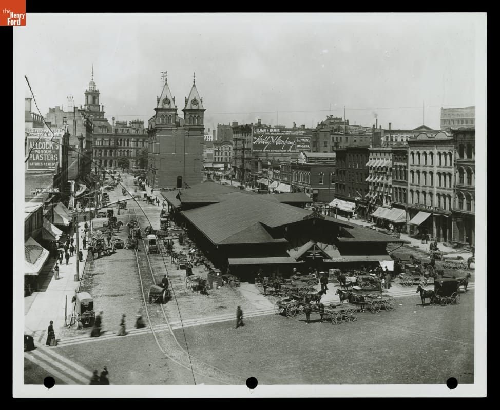 Historic view of the Detroit Central Farmers Market, taken in the late 1880s.
