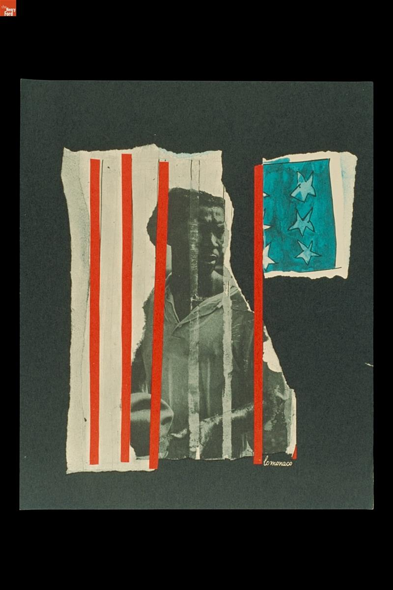Print with image of Black man behind red bars with blue and white stars nearby