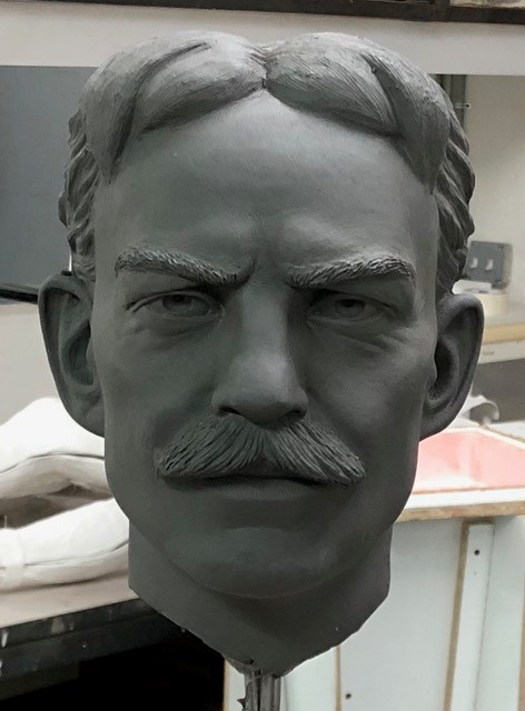 Head of man with mustache