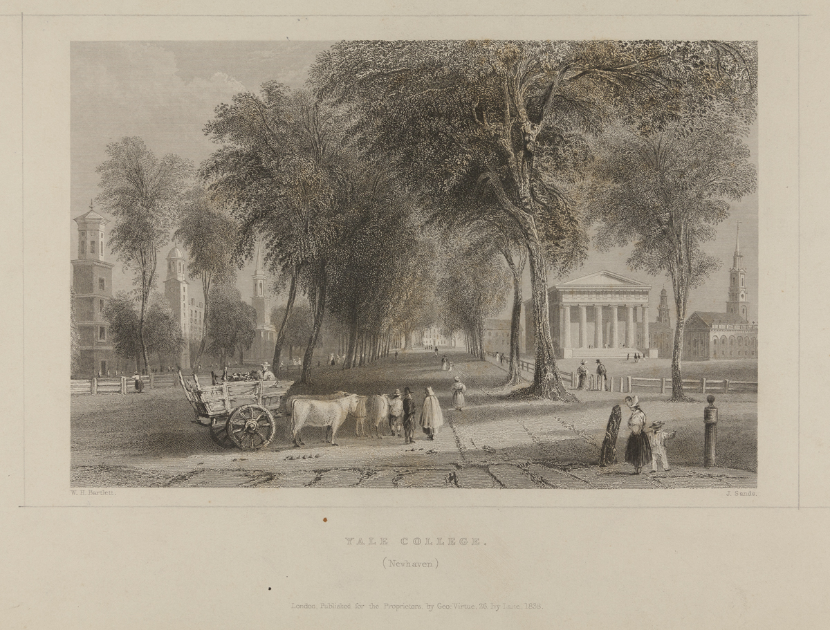 Engraving of street scene with trees, buildings, people, and an oxcart in the foreground