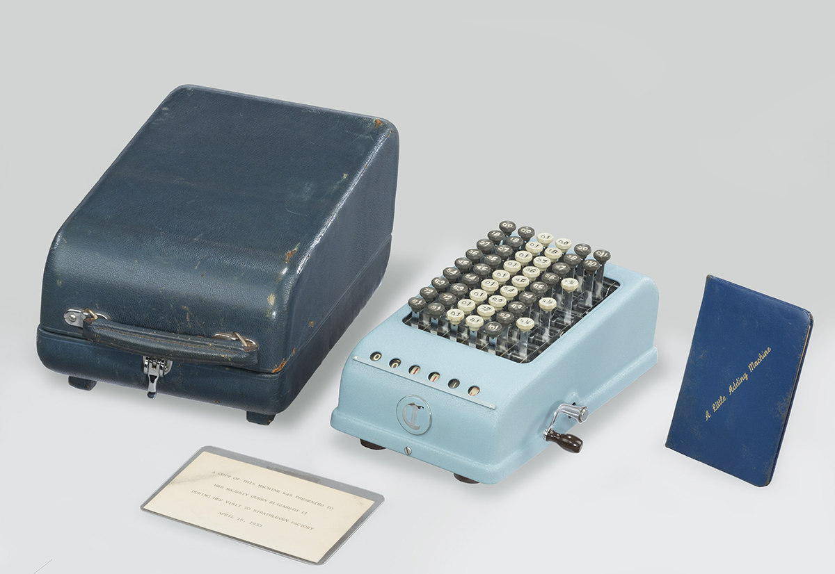 Baby blue adding machine with dark turquoise cover and two cards