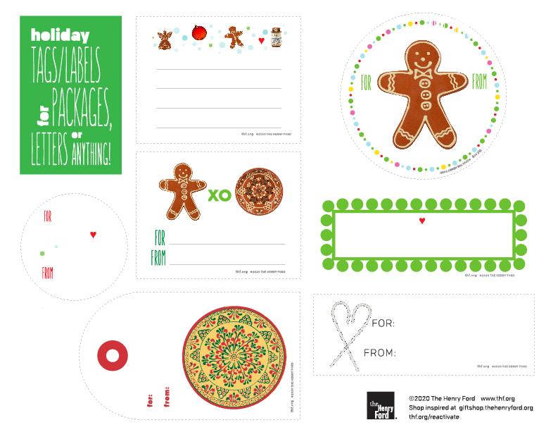 Holiday gift tags in a variety of shapes and styles