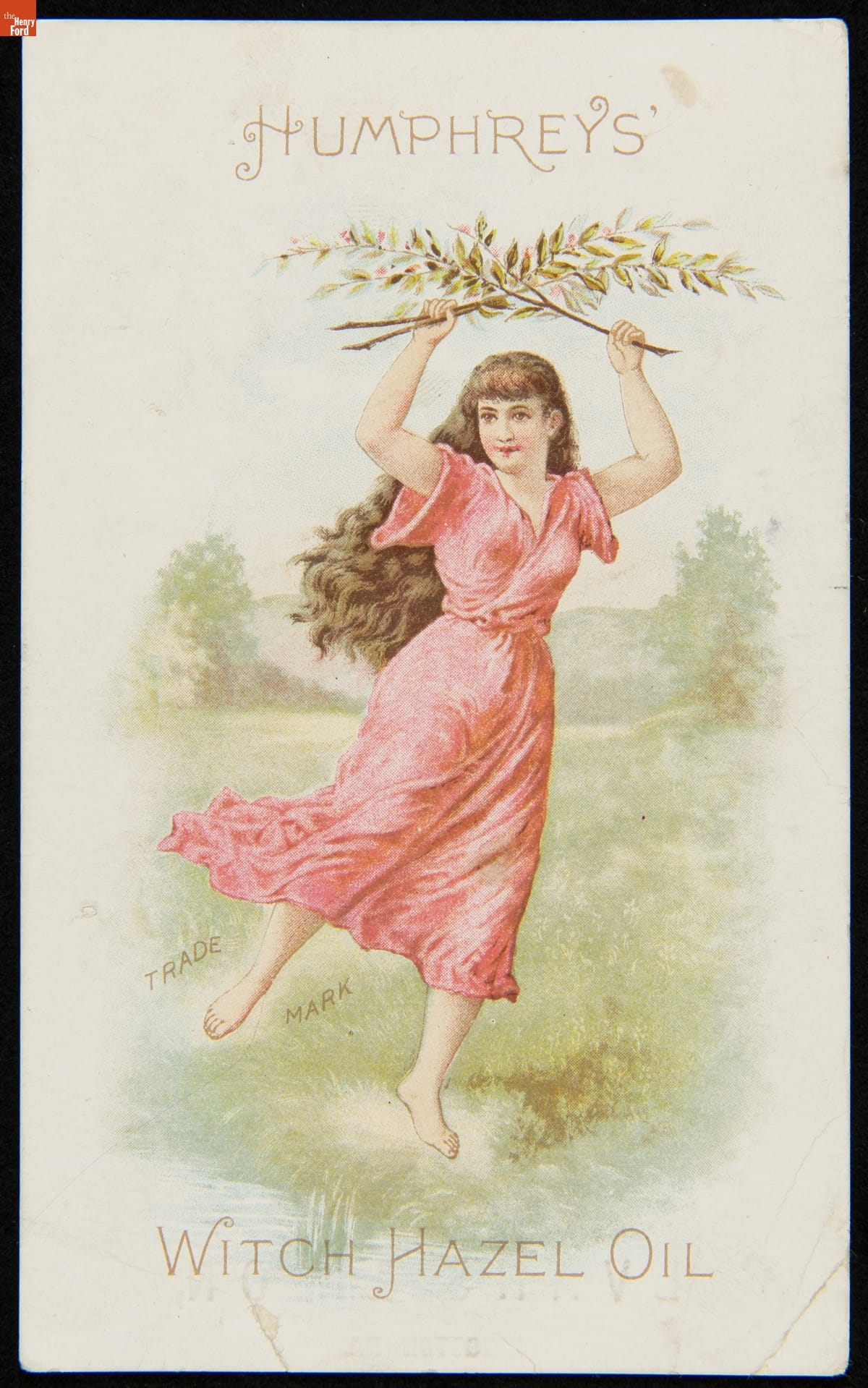 Illustration of woman in red dress in field, one leg held out behind her, holding two leafy branches crossed above her head; also contains text
