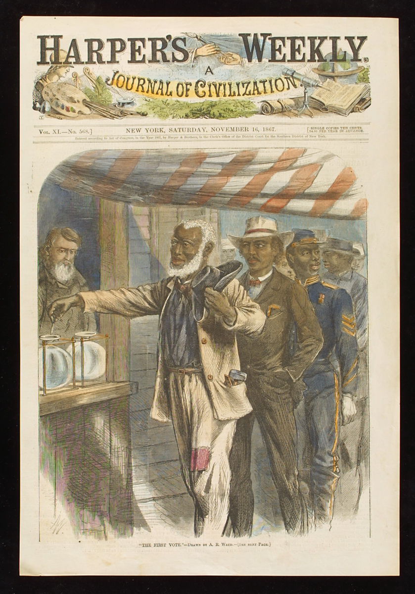 Colored print showing an African American man in a cream-colored patched suit adding a token to one of two jars under a red and white striped awning with a line of other African American men behind him