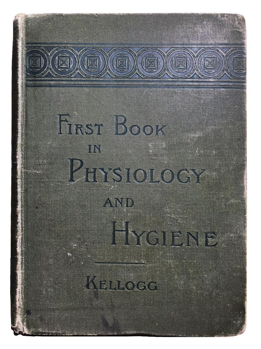 Drab green cover of Dr. J.H. Kellogg textbook, First Book in Physiology and Hygiene embossed with black circular design at top
