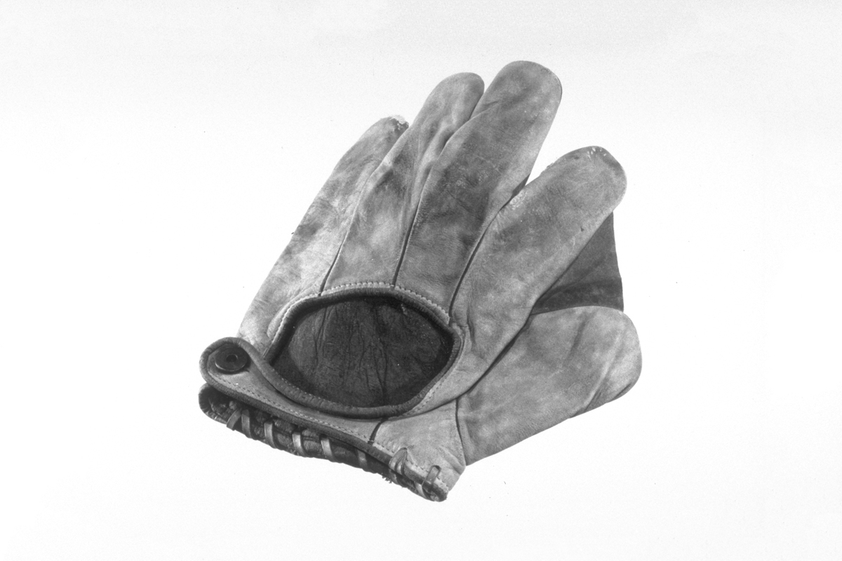Black-and-white image of baseball glove