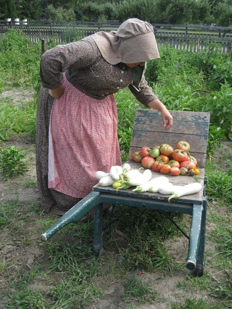 Woman in period clothing bending over a wheelbarrow containing tomatoes and white eggplants