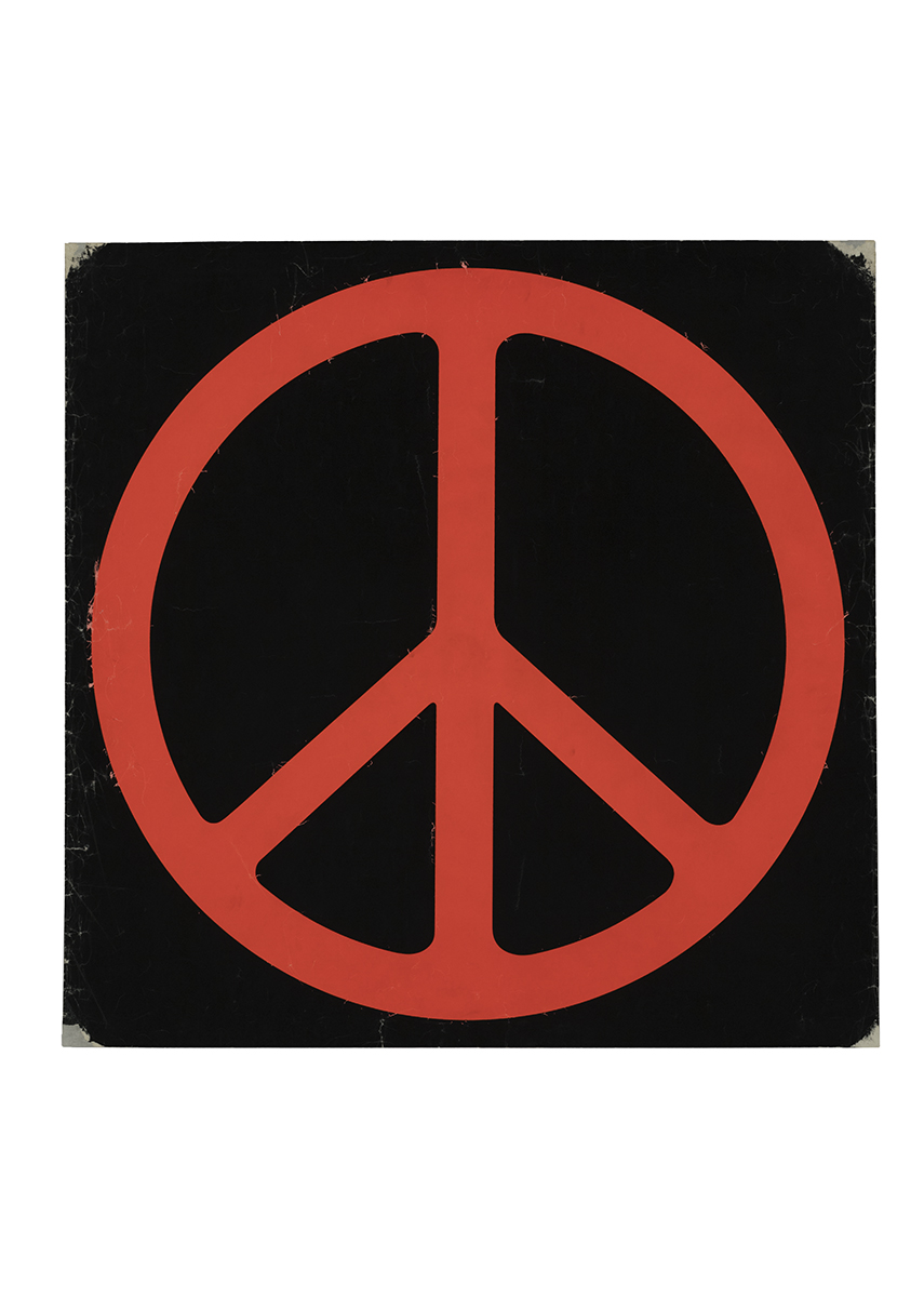 Red peace symbol on black background