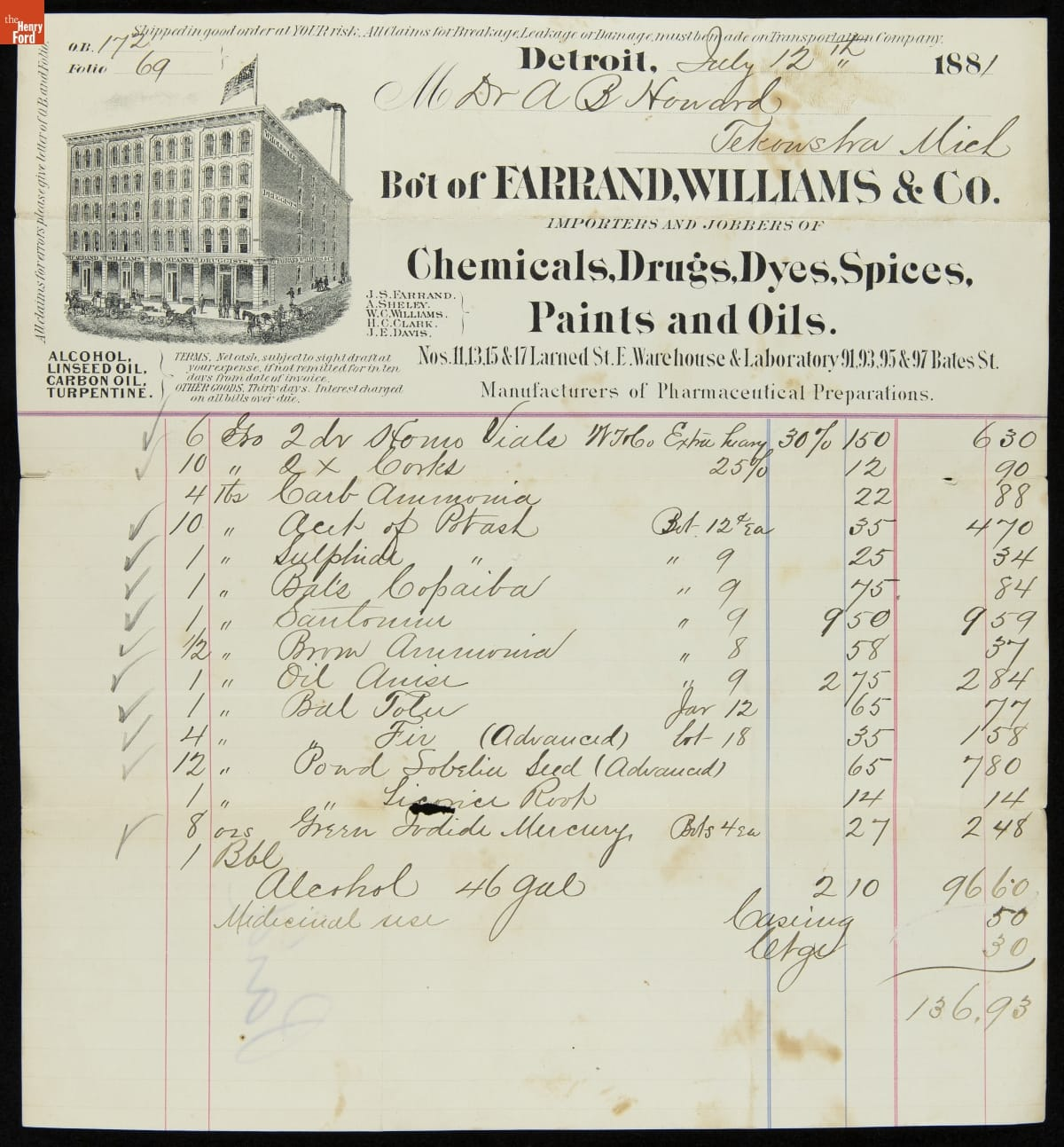 Receipt on letterhead with handwritten list of items, quantities, and prices