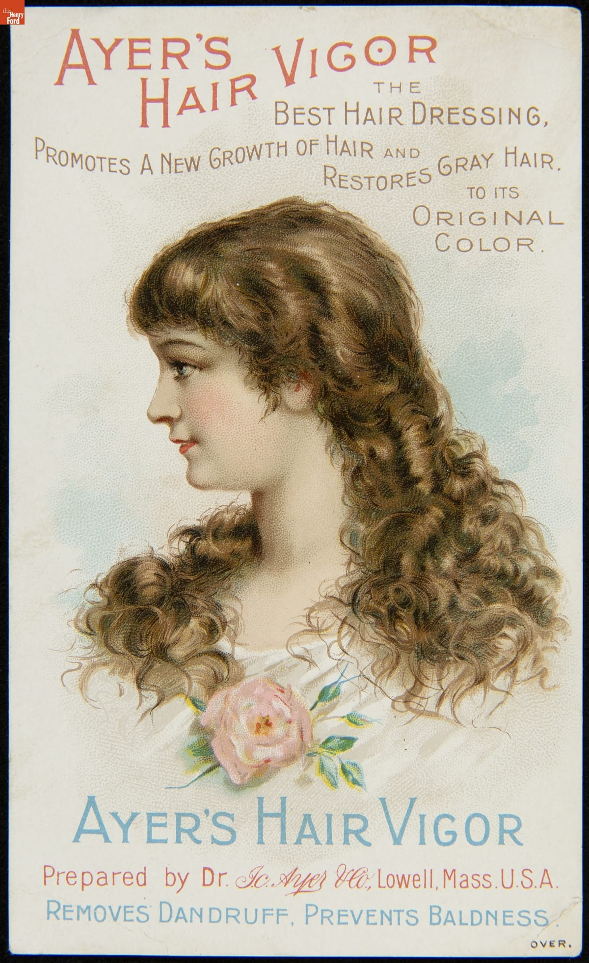 Chest and head of woman with long light brown hair and pink rose pinned to her chest; also contains text
