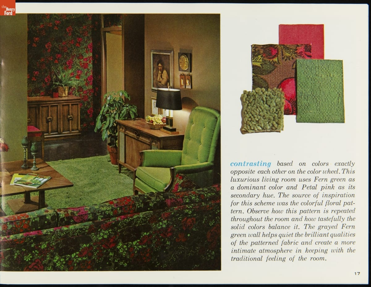 Left side of page contains photo of room with green carpet and chair; red-and-green floral sofa and matching wallpaper; other occasional furniture and knick-knacks; right side of page contains images of fabric swatches and text