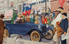 Woman and little girl standing up in the back of a car and cheering a passing women's suffrage parade, while male driver crosses arms and looks grumpy